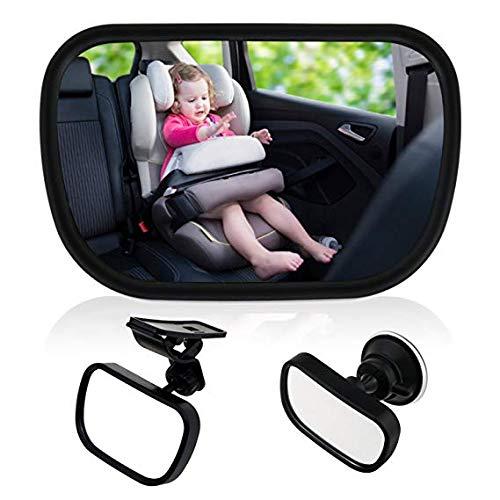 ZYTC Baby Car Spiegel - Rückansicht Baby Car Rücksitz Spiegel - Breit Convex Bruchsicheres Glas - Saugnapf auf Windschutzscheibe / Clip auf Auto Sonnenblende