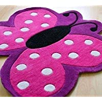 Childrens Pink And Purple Polka Dot Butterfly shape rug by Kids Rugs