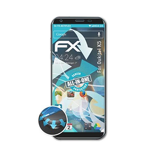 atFolix Schutzfolie passend für Oukitel K5 Folie, ultraklare & Flexible FX Bildschirmschutzfolie (3X)