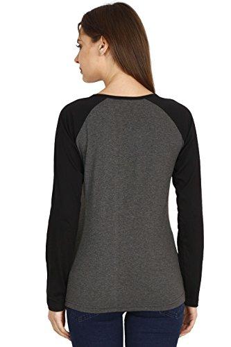 FLEXIMAA Women's Cotton Full Sleeve Printed Raglan T-shirt (Charcoal Milange, Large)