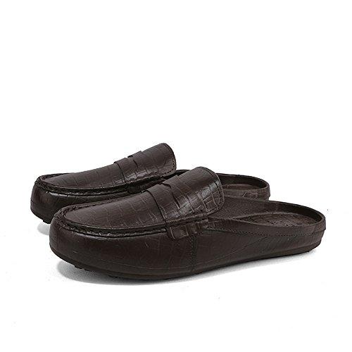 Hommes En Cuir Chaussures Mocassins Été Plage Glisser Sur Des Mules De Marche Chaussures De Conduite Sandales Pantoufles