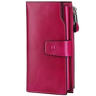 S-ZONE Women RFID Blocking Wallet Large Capacity Luxury Wax Genuine Leather Wallet Purse with Zipper Pocket