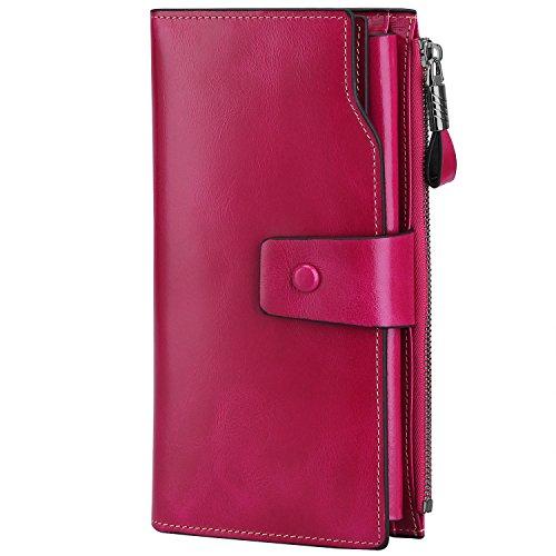 S-ZONE Damen groß Kapazität Luxus echtes Leder Geldbörsen mit Reißverschluss-Tasche (Rosa) -