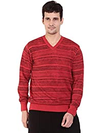 TAB91 Men's Cotton Rich Red V Neck Pullover