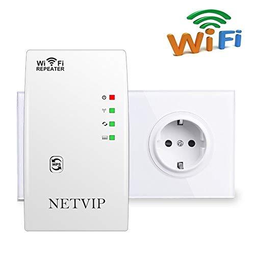 NETVIP WLAN Verstärker Netz Wireless WLAN Repeater 300Mbps/ 2.4GHz WLAN Range Extender Signal WLAN Verstaerker Adapter Signalverstärker(Repeater/Access Point/WPS) Unterstützt Allen WLAN Router