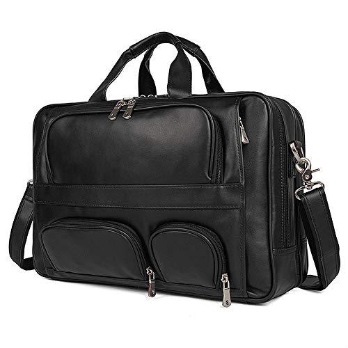 YQXR Handtaschen und Schultertaschen, Herren Umhängetasche Große Tasche Aktentasche aus Leder 17-Zoll-Laptop-Tasche Leder Business Herren Tasche (Color : Black, Size : L)