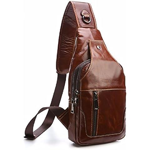 KHSKX La moda maschile pack torace portatili business in pelle borsa uomo moda rétro di moda uomo borse,marrone chiaro