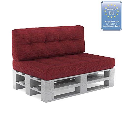 Gartenmöbel Kissen (Palettenkissen Palettensofa Palettenpolster Kaltschaum Kissen Polster Sitz+Rücken (Set 1, Rot))
