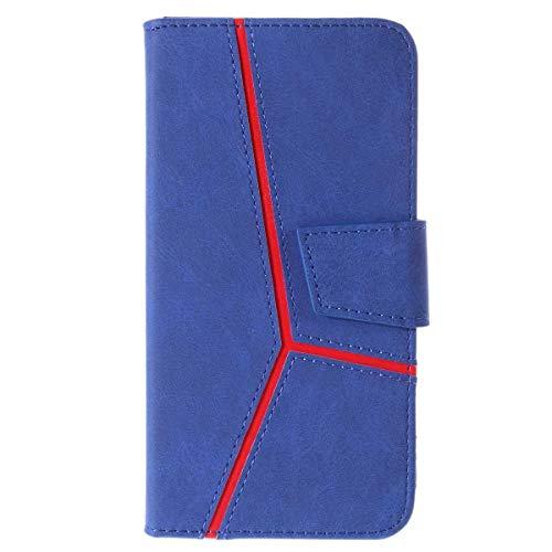 Galaxy S9 Hülle, DENDICO Leder Handyhülle Wallet Case für Samsung Galaxy S9 Schutzhülle Klapphülle mit Magnetic Snap und Kartensteckplätze - Blau -