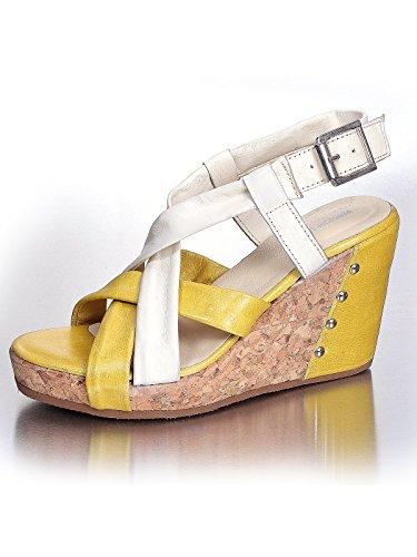 Marion Spath , chaussures compensées femme Multicolore - Creme/Senf