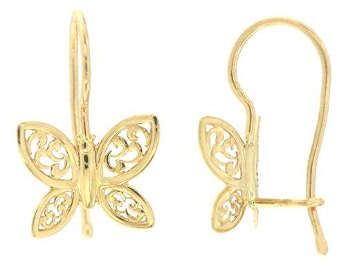 ERCE Schmetterling Ohrringe, 14 Karat Gold 585, Größe 13 x 9 mm