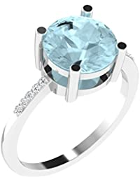 His & Her .925 Sterling Silver, Diamond And Aquamarine Ring For Women