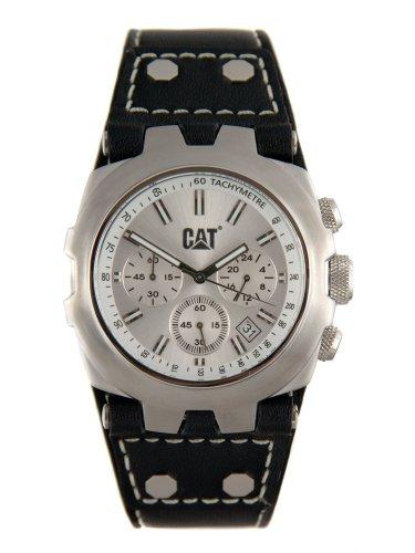 Caterpillar YELLOW STEEL CA1524 - Reloj analógico de caballero de cuarzo con correa de piel negra (cronómetro)