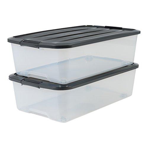 IRIS 135463, 2er-Set Unterbettboxen / Rollerboxen / Aufbewahrungsboxen \'Top Box Under Bed Box\', TBU-40, mit 4 Rollen, Plastik, transparent / schwarzer Deckel, 40 L, 68 x 38,8 x 18,5 cm