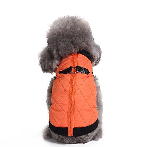 selmai Warm Soft Vest kaltem Wetter Kleine Hund Katze Harness Kleidung Mantel mit Reißverschluss Pet Welpen Jacke Puffer Apparel (Hund Pullover Für Harness)
