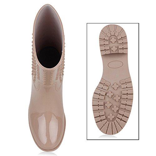 Damen Schuhe Gummistiefel Lack mit Blockabsatz Stiefel Boots Wasserdicht Nude