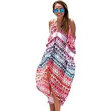 2d77db411169 Fuxiang Copricostume Donna Estate Mare Chiffon Copricostumi Stampa  Beachwear Vestito Halter Beach Bikini Cover Up Tunica