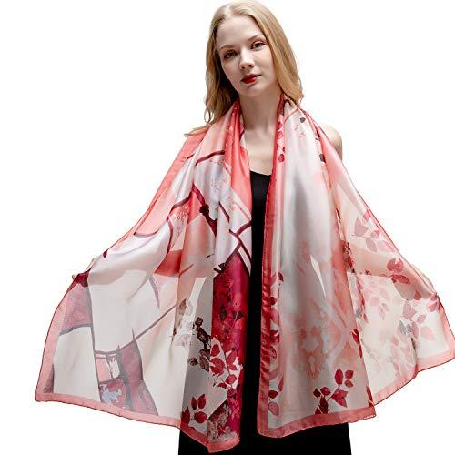 Riiqiichy sciarpa donna foulard scialle stole donna in poliestere come seta elegante alla moda adatta a primavera estate sera multi-stampe da scegliere 180 x 90 cm