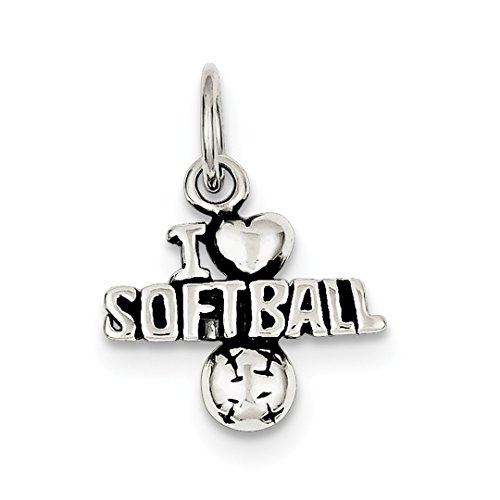 Sterling Silber Charme Softball (IceCarats Designer Schmuck Sterling Silber Antique I (Heart) Softball-Charme)