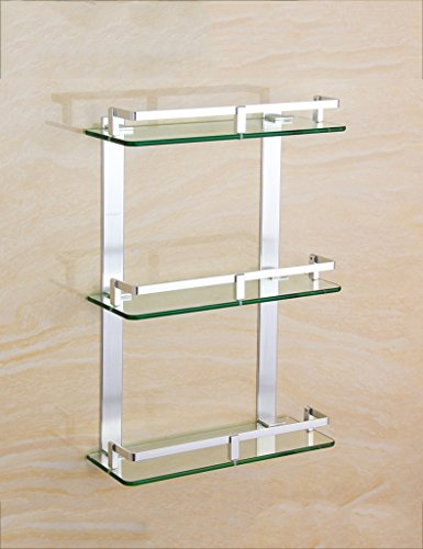 XIAOLIN-- Space Aluminium dreischichtigen Glas Shelf Badezimmer Hardware Anhänger Duschraum Mehrschicht-Kosmetik Rack Badezimmer-Racks ( größe : 30cm )