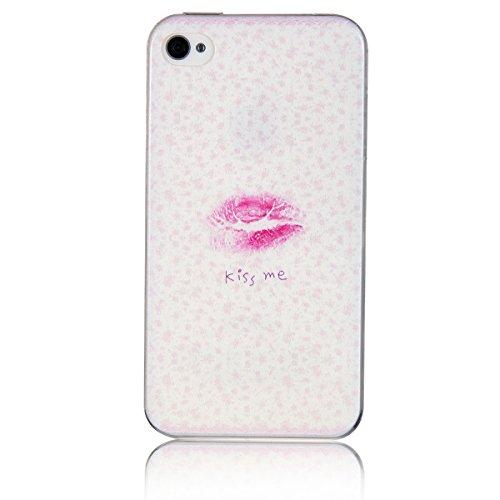 JewelryWe custodia morbido Hand Painting Romantico labbra rossa dipinto Kiss Me protettivo Back Case Cover for Apple iPhone 5 5s