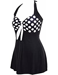 0fd53cea78a AMAGGIGO Women s Polka Dot One Piece Swimsuit Tummy Control Swimwear  Swimdress with Skirt(FBA)