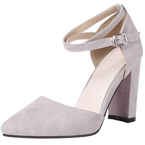 COOLCEPT Damen Mode Kreuz Sandalen Blockabsatz Geschlossene Schuhe Grau