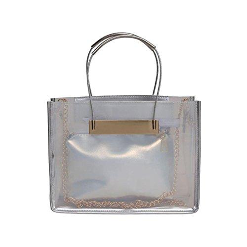 Longra Donna Sacchetto trasparente della borsa della spalla del sacchetto della spiaggia di colore della caramella della gelatina della catena del sacchetto trasparente Argento