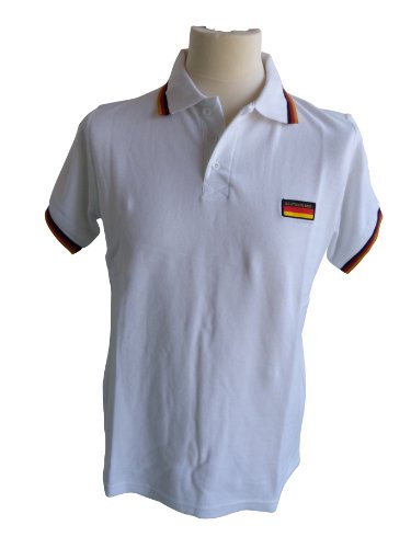 Poloshirt, Polo Shirt, Polo Pique Deutschland, BRD weiss (M)