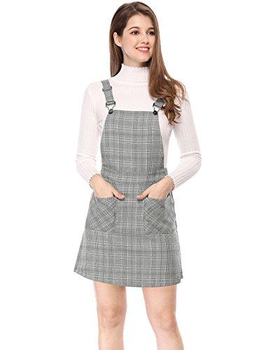 Allegra K Women's Pinafore Dresses Plaids Adjustable Strap Suspender Overall Skirt Dress Grey S (UK 8)