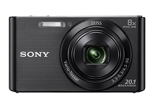 Sony DSC W830 Cyber-shot 20.1 MP Point and Shoot Camera (Black) with 8x Optical Zoom, Memory Card and Camera Case