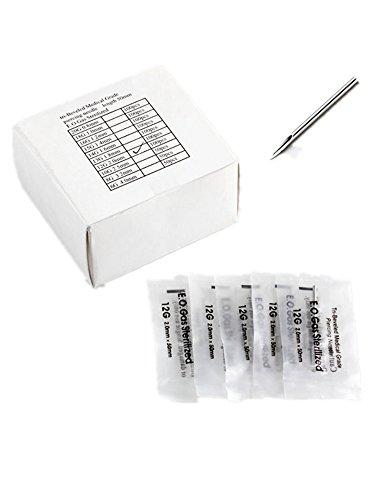 JSDDE 10x Chirurgisch Edelstahl Piercing Nadel 12G Piercingnadel Augenbraue/Lippe/Nase Körper Piercing 49 x 2 mm
