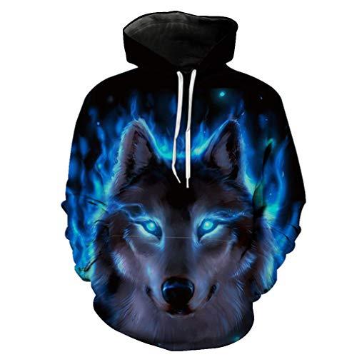 Wolf Print Pullover Anime Digital 3D Print Kapuzen T-Shirt Bequeme Baumwolle Kapuzen Baseball Anzug,Blue,M ()