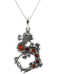 "The Olivia Collection Sterling Silver Dragon Amber Pendant on 18"" Chain"