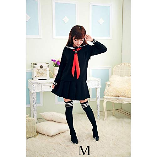 Klassische japanische Schulmädchen Sailor Navy Schwarz Hemden Uniform Anime Cosplay Kostüme mit Socken Set,M Navy Sailor Hose