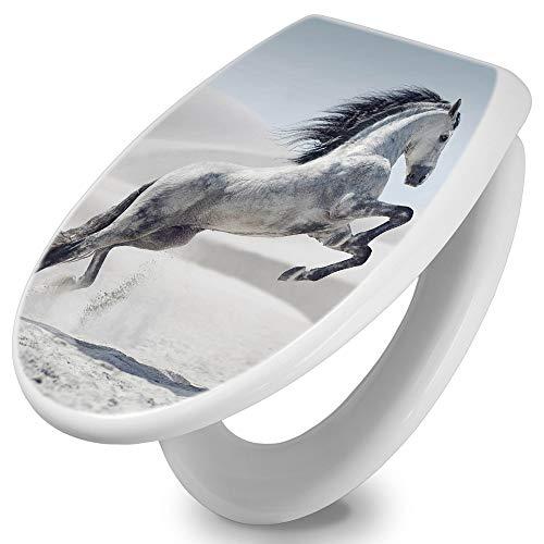 banjado Toilettendeckel mit Absenkautomatik | WC Sitz 42cm x 4cm x 37cm | Klodeckel weiß | Klobrille mit Edelstahl Scharnieren | Toilettensitz mit Motiv Wildes Pferd
