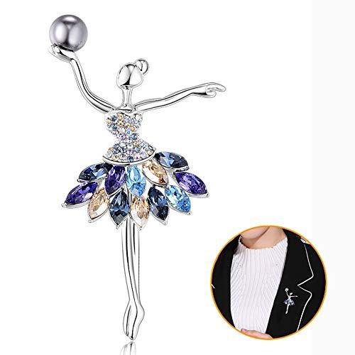 MLSJM Frauen Brosche, Romantische Ballett Crystal Pearl Broschen, Swarovski Element Crystal, Ewelry Dekoration Kleidung Schal Zubehör,Blau