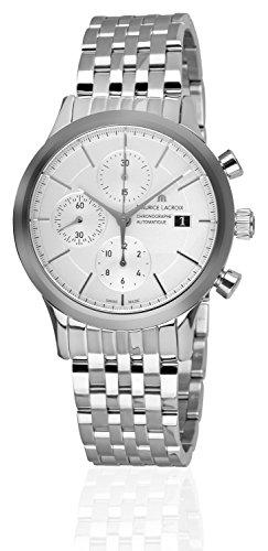 Maurice Lacroix Les Classiques Chronograph, Uhr, Edelstahl, Weiss, ML 112