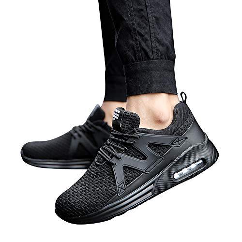 JiaMeng Zapatos para Correr En Montaña Asfalto Deportes Zapatillas Zapatos de Malla al Aire Libre de Encaje Informal hasta Soles cómodos Zapatillas Deportivas Hombre (Negro,EU43=CN44)