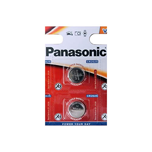 Panasonic Batterien CR2025 3 V 2 Stück Lithium Knopfzellen Multi-Purpose New (Cr2025 Panasonic 3v)