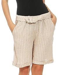1757797e00edd5 Malito Damen Shorts aus Leinen   lässige Kurze Hose   gestreifte Bermuda    Pants - Hotpants