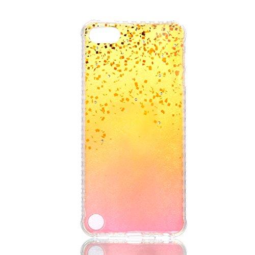 Coque iPod Touch 5 Glitter, iPod Touch 6 Coque Brillante, SainCat Ultra Slim TPU Silicone Case pour iPod Touch 5/6, Glitter Bling Diamante Strass Anti-Scratch Soft Gel 3D Housse Transparent Silicone C Plage de Sable