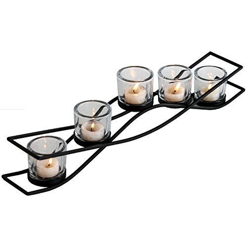 Multistore 2002 Teelichthalter 53x8,5xH12,5cm Kerzenhalter Kerzenständer inkl. 5 Gläser, Schwarz, Windlicht