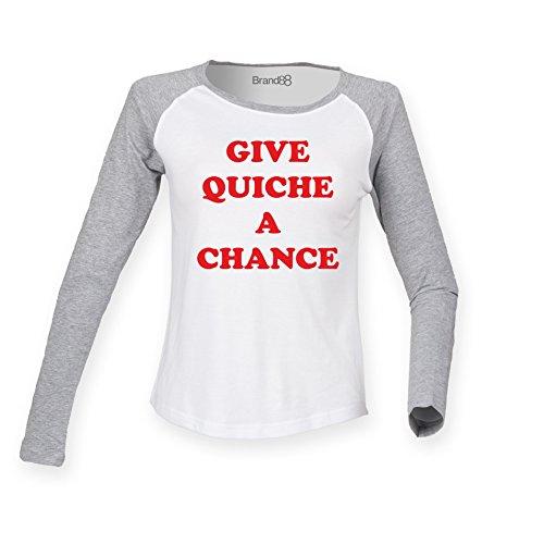 Give Quiche A Chance Damen Langarm Baseball T-Shirt - Weiss & Grau XS ( UK Größe 8 ) (Chance T-shirt Fitted)