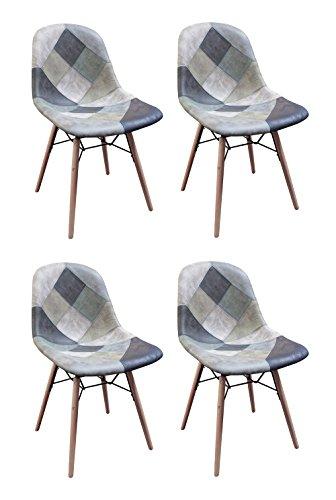 Meubletmoi sillas Patchwork Azul escandinava Vintage-Suave
