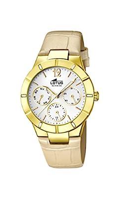 Lotus Reloj de cuarzo para mujer con correa de piel color blanco esfera analógica pantalla y beige 15917/1 de Lotus