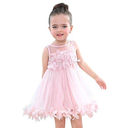 Kinder Mädchen Party Prinzessin Kleider mit Blume Applique Sommer Ärmellos Hochzeit Kleid Outfits Baby Girl A-Linie Mesh Minikleid Abendkleid für 1-3 Alter (Rosa, 36 Monate)