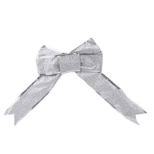 L_shop Ribbon Ribbon Bow (1 Set mit 5 Stück) Bandschleife Weihnachtsbaum Dekoration Weihnachtsschmuck Geburtstag Hochzeit Geschenk Ziehen Blume, Weihnachten Jahrestag Geschenk Dekoration,Stoff,B061 Farbband Silber (Farbband Silber)