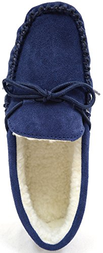 SNUGRUGS - Wool Lined Suede Moccasin With Rubber Sole, Pantofole Uomo Blue (Navy)
