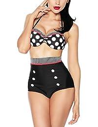 Sitengle Para Mujer Bañador Traje de Baño Cintura Alta Push Up Atractivo Bikinis Conjuntos Lunares Ropa de Baño Beachwear Swimsuit Swimwear dos Piezas